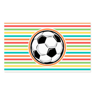 Soccer Ball Bright Rainbow Stripes Business Card
