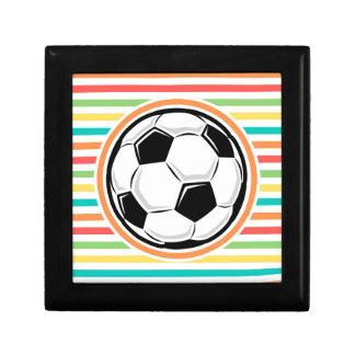 Soccer Ball Bright Rainbow Stripes Jewelry Box