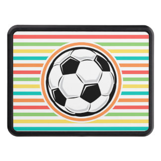 Soccer Ball Bright Rainbow Stripes Tow Hitch Cover