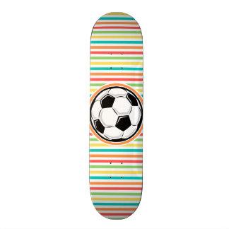 Soccer Ball Bright Rainbow Stripes Skate Board