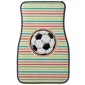 Soccer Ball Bright Rainbow Stripes Car Mat