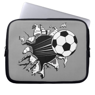 Soccer Ball Busting Out Laptop Sleeve