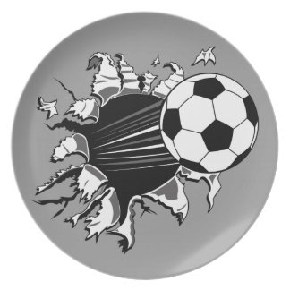 Soccer Ball Busting Out Plate