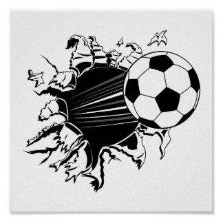 Soccer Ball Busting Out Poster