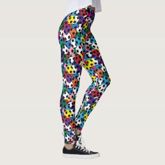 Soccer Ball Colorful Collage Fashion Leggings