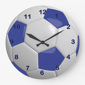 Soccer Ball | Dark Blue Large Clock