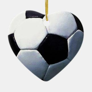 Soccer Ball Ceramic Heart Decoration