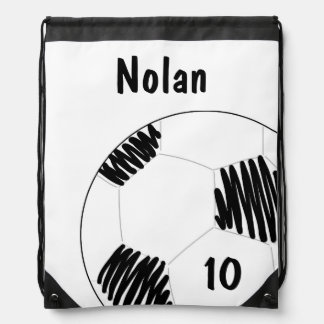 Soccer Ball Draw String Bag = Personalized