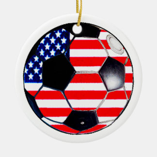 Soccer Ball Flag USA The MUSEUM Gifts Round Ceramic Decoration