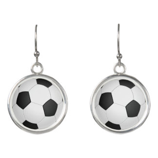Soccer ball (Football) Black and White Earrings