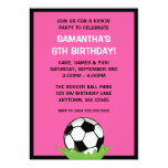 Soccer Ball Girl Pink Birthday Party 13 Cm X 18 Cm Invitation Card