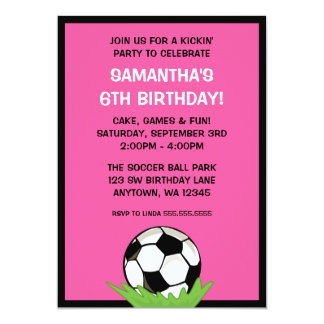 Soccer Ball Girl Pink Birthday Party 13 Cm X 18 Cm Invitation Card