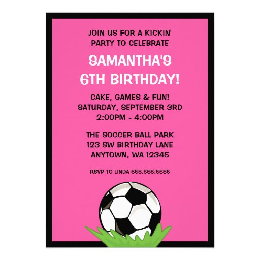 Soccer Ball Girl Pink Birthday Party Announcements