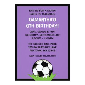 Soccer Ball Girl Purple Birthday Party 13 Cm X 18 Cm Invitation Card