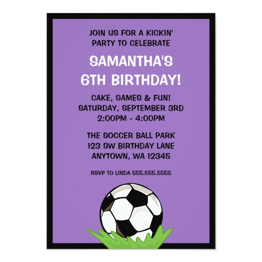 Soccer Ball Girl Purple Birthday Party Card