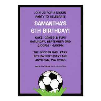 Soccer Ball Girl Purple Birthday Party Announcements