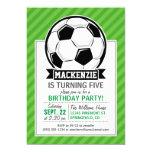 Soccer Ball; Green Stripes 13 Cm X 18 Cm Invitation Card