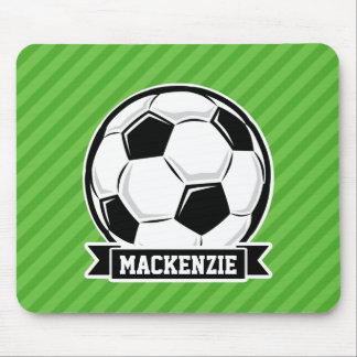 Soccer Ball; Green Stripes Mousepad