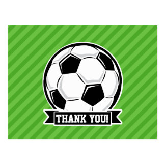Soccer Ball; Green Stripes Postcard
