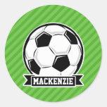 Soccer Ball; Green Stripes Round Sticker