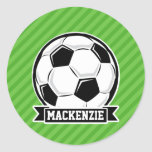 Soccer Ball; Green Stripes Round Stickers