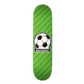 Soccer Ball; Green Stripes Custom Skate Board