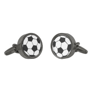Soccer Ball Gunmetal Finish Cuff Links