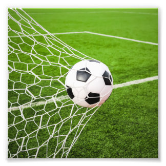 Soccer Ball Hitting Goal Net Photo Print