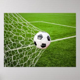 Soccer Ball Hitting Goal Net Poster