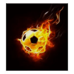 Soccer Ball in Flames Poster
