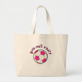 Soccer Ball in Pink Large Tote Bag