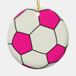 Soccer Ball in Pink Round Ceramic Decoration