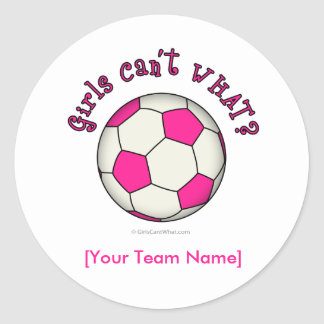 Soccer Ball in Pink Round Sticker