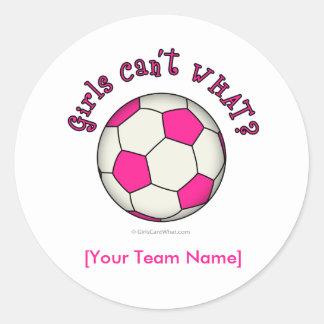 Soccer Ball in Pink Round Sticker