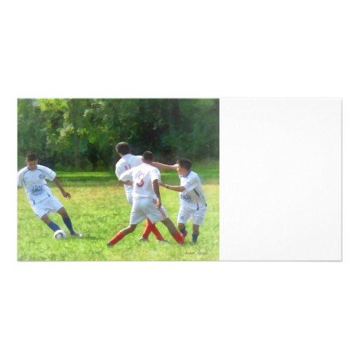 Soccer Ball in Play Custom Photo Card