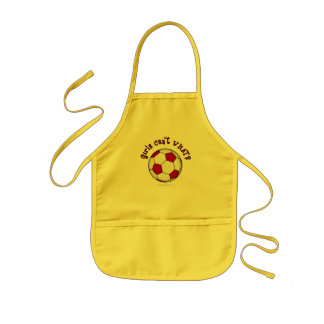 Soccer Ball in Red Kids Apron