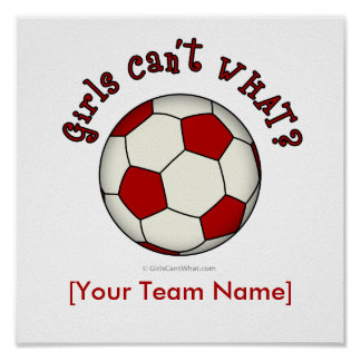Soccer Ball in Red Poster