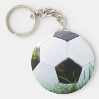 Soccer Ball in the Summer Grass Basic Round Button Key Ring