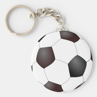 Soccer Ball Basic Round Button Key Ring