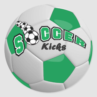 Soccer Ball Kicks |  Green Round Sticker