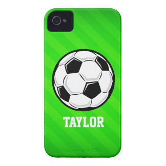 Soccer Ball; Neon Green Stripes Case-Mate iPhone 4 Cases