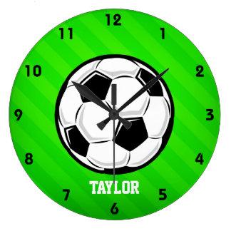 Soccer Ball; Neon Green Stripes Clock