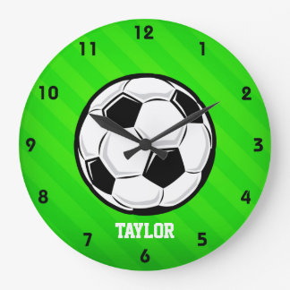 Soccer Ball; Neon Green Stripes Large Clock
