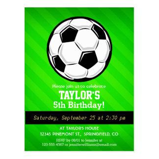 Soccer Ball; Neon Green Stripes Postcard