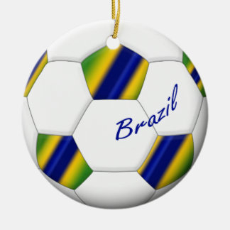 Soccer Ball of Brazil 2014 with national flags Round Ceramic Decoration