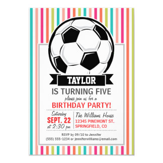 Soccer Ball on Colorful Stripes 13 Cm X 18 Cm Invitation Card