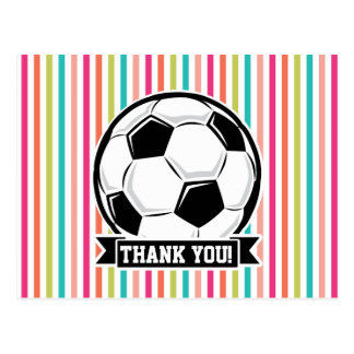 Soccer Ball on Colorful Stripes Postcards
