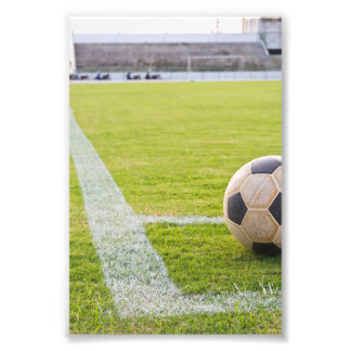 Soccer Ball on Field Line Photo Print