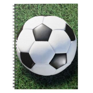 Soccer ball on green grass, close-up notebook