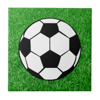 Soccer Ball On Lawn Small Square Tile